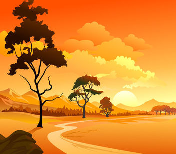 Mountainside Landscape Sunset Background - Free vector #166295