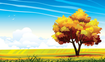 Abstract Landscape with Big Tree - бесплатный vector #166315