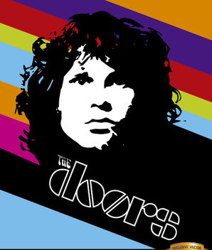 Jim Morrison Doors color stripes poster - Free vector #166325