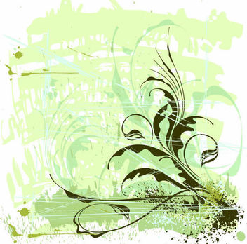 Flower Ornament with Grunge and Stains - vector gratuit #166415