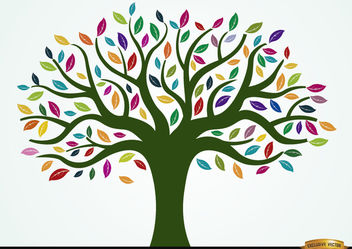 Painted tree with colored leaves - vector gratuit #166445