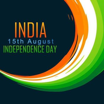 Independents Day Tricolor Curves Painting Indian Flag - Kostenloses vector #166475
