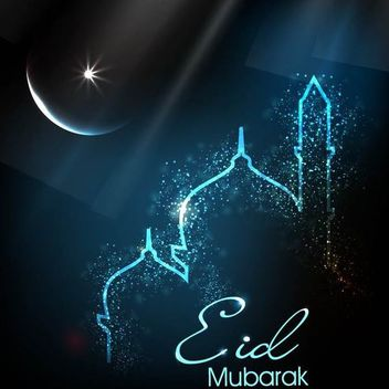 Glowing Eid Card with Mosque & Moon - vector gratuit #166485