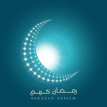 Ramadan Kareem Shiny Crescent Moon Background - Kostenloses vector #166495