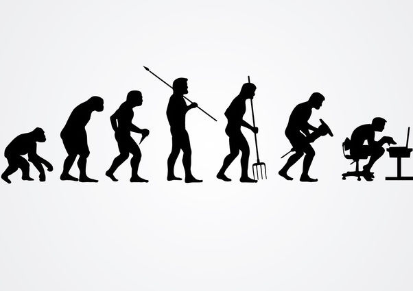 Evolution of human work silhouettes - vector gratuit #166525
