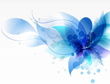 Fluorescent Blue Swirls and Floral Leaves - Free vector #166585