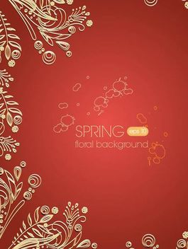 Golden Floral Ornament on Paprika Background - vector gratuit #166615