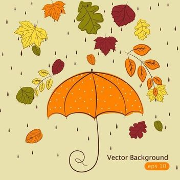 Funky Hand Drawn Autumn Leaves with Rain - vector gratuit #166655
