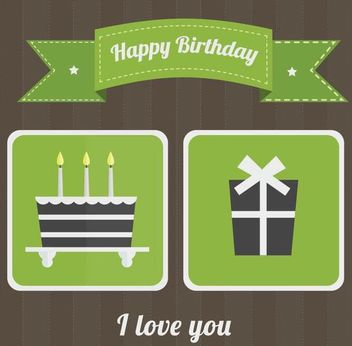 Flat Green Retro Birthday Card - vector gratuit #166685