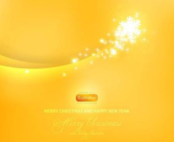 Yellow Christmas Background with Snowflakes - Free vector #166705