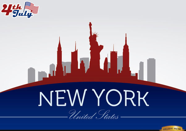 New York skyline on July 4th commemoration - vector gratuit #166755