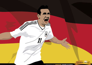 Miroslav Klose with Germany flag - vector #166805 gratis