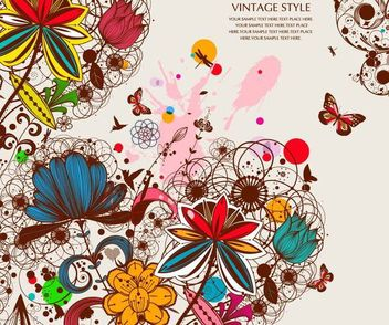 Grungy Retro Floral Background with Butterfly - vector gratuit #166815