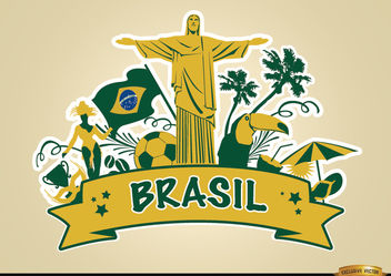 Brasil ribbon with major touristic attractions - vector #166865 gratis