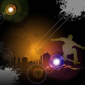 Glowing Urban Night Skateboard Background - бесплатный vector #166905