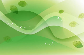 Abstract Green Leaves and Waves Background - Free vector #167045