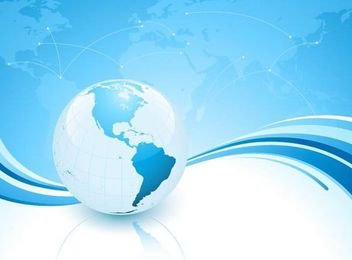 Blue Wavy Background with World Map and Planet - vector gratuit #167305