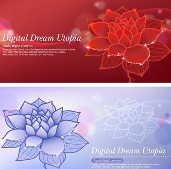 Lotus Dream Red and Blue Background - Free vector #167425