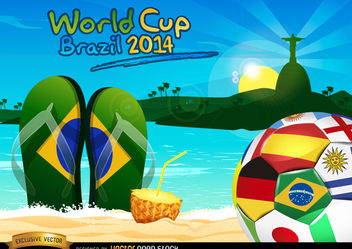 Brazil 2014 ball on Rio beach - Free vector #167445