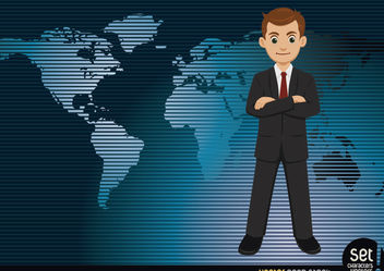 Businessman with a worldmap Background - Kostenloses vector #167575