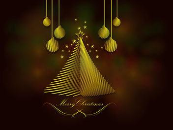 Stripy Xmas Tree & Ornamental Blurry Background - vector gratuit #167845