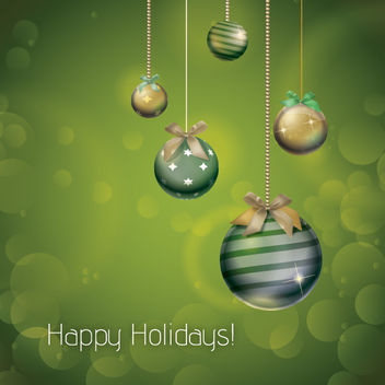Olive Green Xmas Ornamental Holiday Card - vector gratuit #167855
