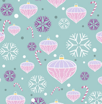 Funky Seamless Pattern with Xmas Ornaments - vector gratuit #167875