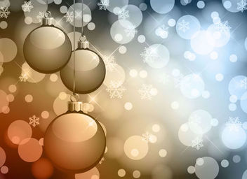 Christmas Balls with Glowing Lens Background - vector gratuit #167885