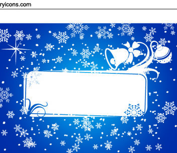 Snowy & Ornamental Xmas Card - vector gratuit #167905