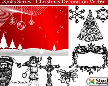 Banner & Hand Drawn Xmas Decoration Pack - Free vector #167915