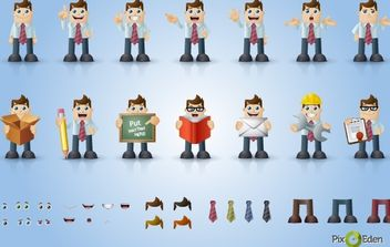 Comic Businessman Character Pack - Free vector #168025