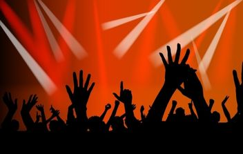 Concert Crowds Raising Hands Silhouette - Free vector #168055