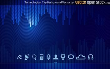 Technologic skyline city background - vector gratuit #168245