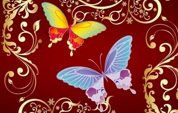 Floral Shape with Butterfly - Free vector #168345