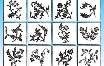 Vector Floral Ornaments Pack - Free vector #168355