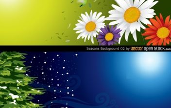 Seasons Background (Spring & Winter) - vector gratuit #168415
