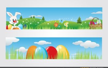 Happy Easter Headers - Free vector #168425