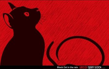 Black Cat in the rain - Free vector #168455