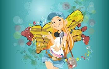 School girl graffiti - vector #168475 gratis