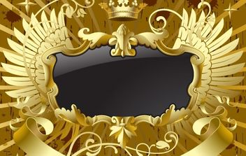 Gold-black banner with wings - Free vector #169235