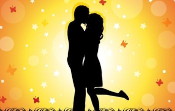 Couple Kissing - vector gratuit #169405