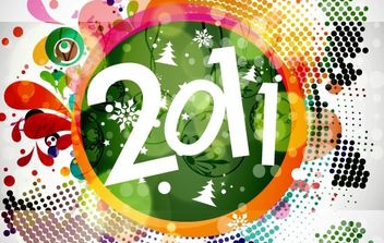 2011 New Year Floral Backgound Vector Graphic - Kostenloses vector #169455