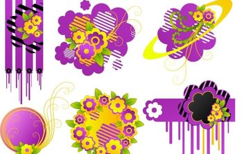Cute floral elements - vector #169615 gratis