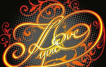 Grunge I Love You titles with floral motives - Free vector #169685