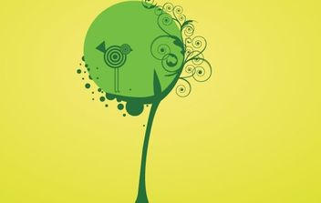 Artistic tree and bird with swirls - vector gratuit #170035