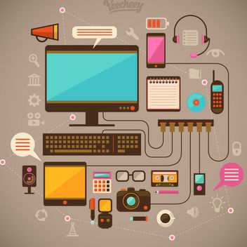 Technological Modern Communication Device Pack - vector gratuit #170335