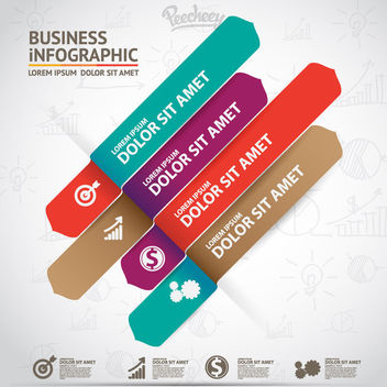 Business Infographic with Multicolored Strips - Free vector #170455