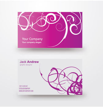Purple White Swirls Business Card - бесплатный vector #170485