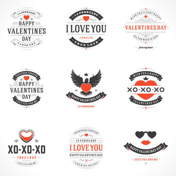 Beautiful Valentine Vintage Label Pack - vector #170625 gratis