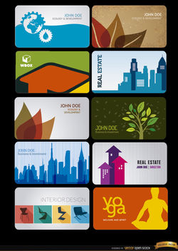 10 Business cards for several professions - бесплатный vector #170655